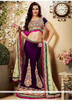 Sturning Purple Applique Velvet Lehenga Choli