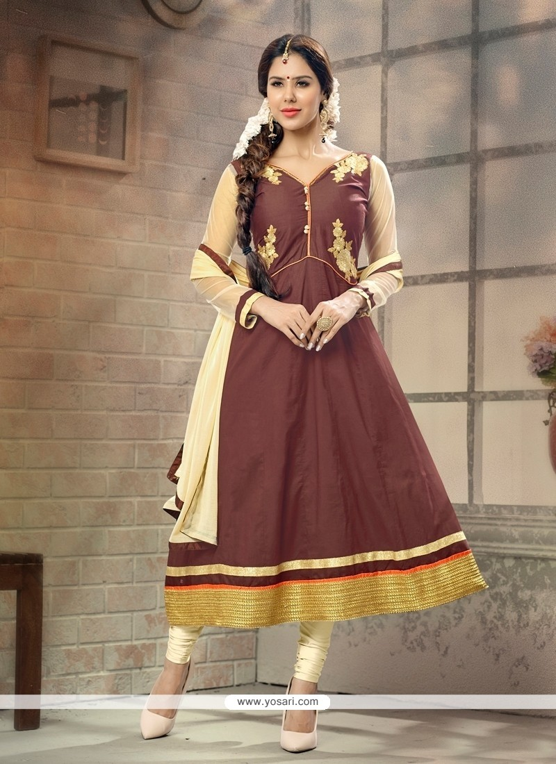Flamboyant Cotton Anarkali Salwar Suit