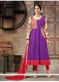 Chic Embroidered Work Cotton Anarkali Salwar Suit