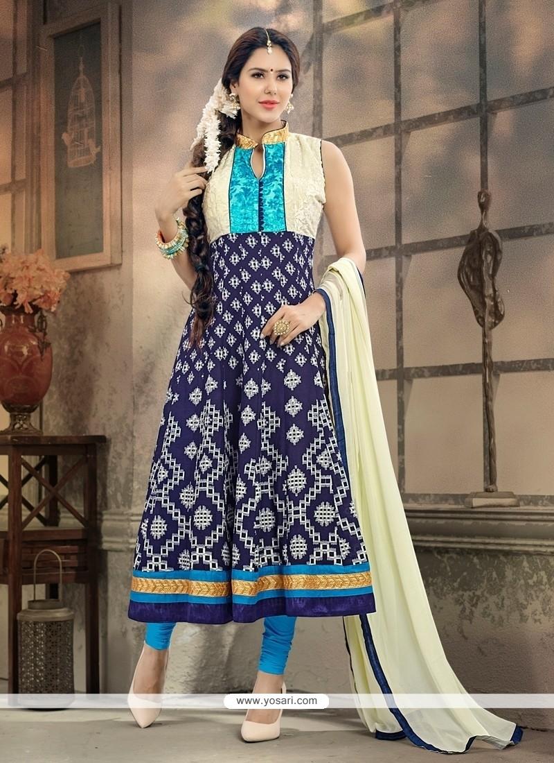 Stylish Blue Anarkali Salwar Kameez