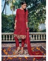 Auspicious Maroon Embroidered Work Pant Style Suit