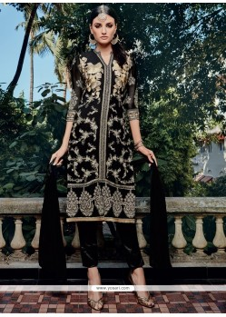 Extraordinary Resham Work Black Georgette Pant Style Suit