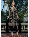 Extraordinary Resham Work Black Georgette Pant Style Suit