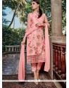 Compelling Lace Work Pink Pant Style Suit