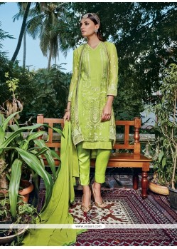 Sensational Green Georgette Pant Style Suit