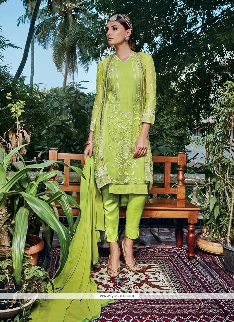 Sensational Green Georgette Pant Style Suit