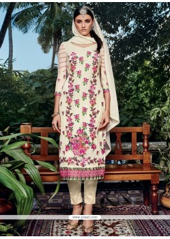 Beautiful Off White Embroidered Work Georgette Pant Style Suit