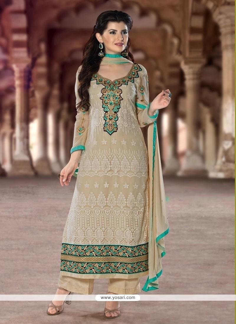 Alluring Lace Work Designer Pakistani Suit