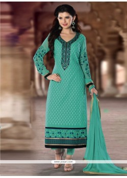 Lurid Sea Green Lace Work Georgette Designer Straight Salwar Kameez