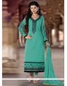Lurid Sea Green Lace Work Georgette Designer Straight Salwar Kameez