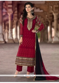 Stylish Resham Work Red Designer Pakistani Suit