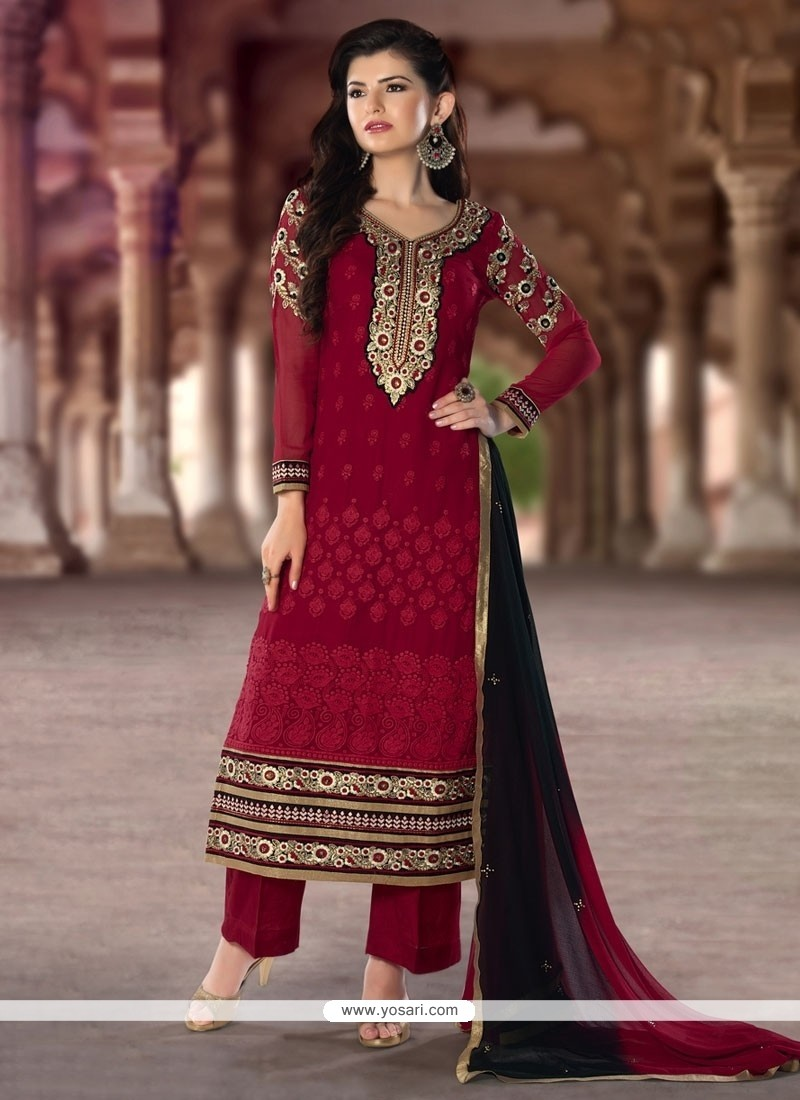 3c82a08d2c Shop online Stylish Resham Work Red Designer Pakistani Suit