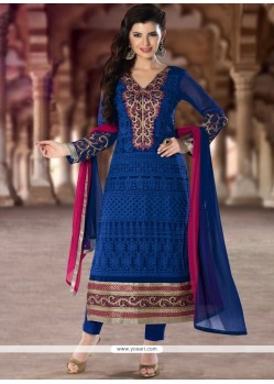 Pleasing Embroidered Work Designer Straight Salwar Kameez