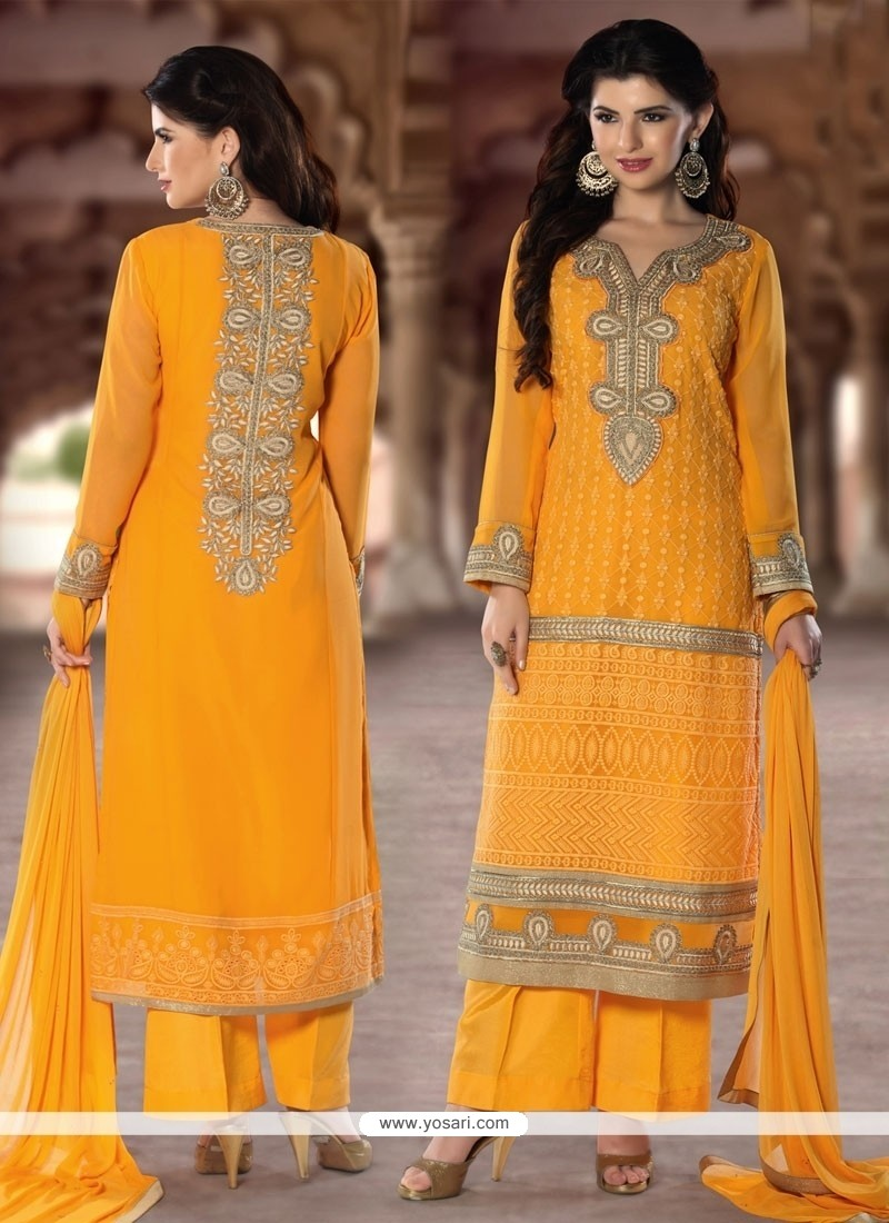 Attractive Embroidered Work Yellow Designer Pakistani Salwar Suit