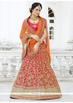Lustrous Net Embroidered Work A Line Lehenga Choli
