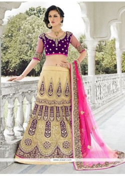 Tempting Net Resham Work A Line Lehenga Choli