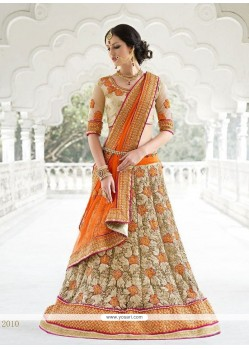 Enticing Beige Patch Border Work Net A Line Lehenga Choli