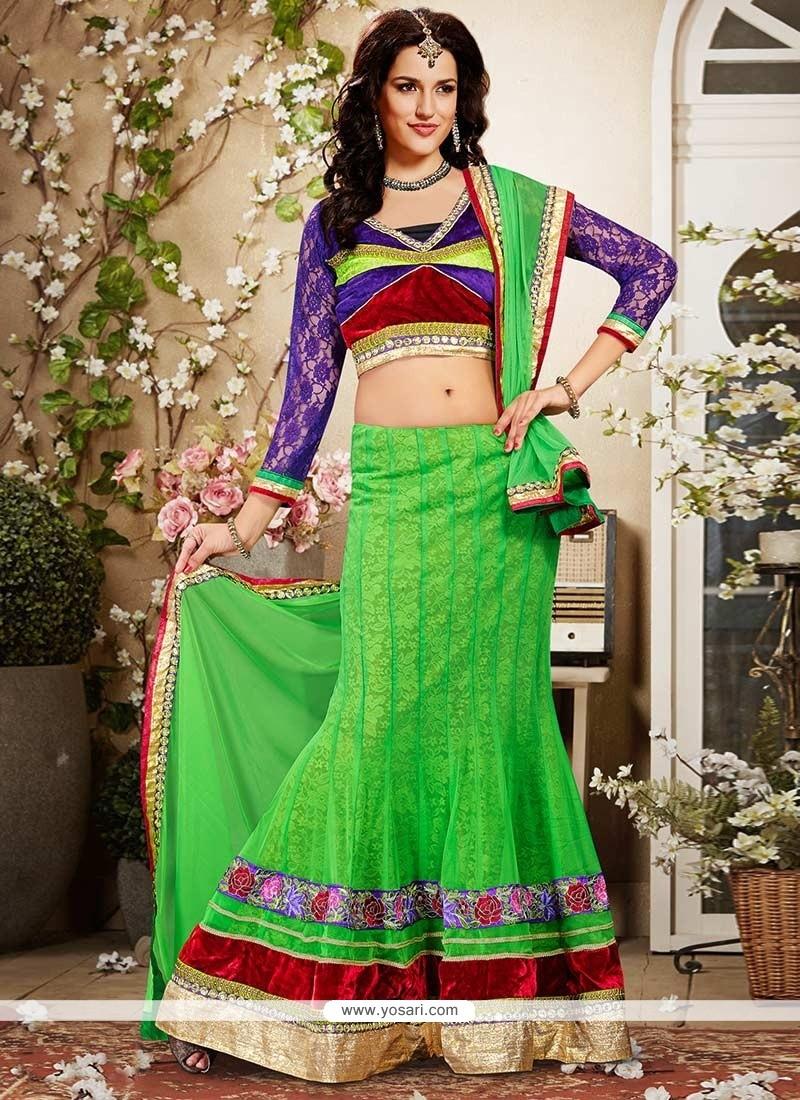 Dazzling Green Net Lehenga Choli