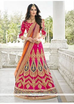 Nice Hot Pink Patch Border Work A Line Lehenga Choli