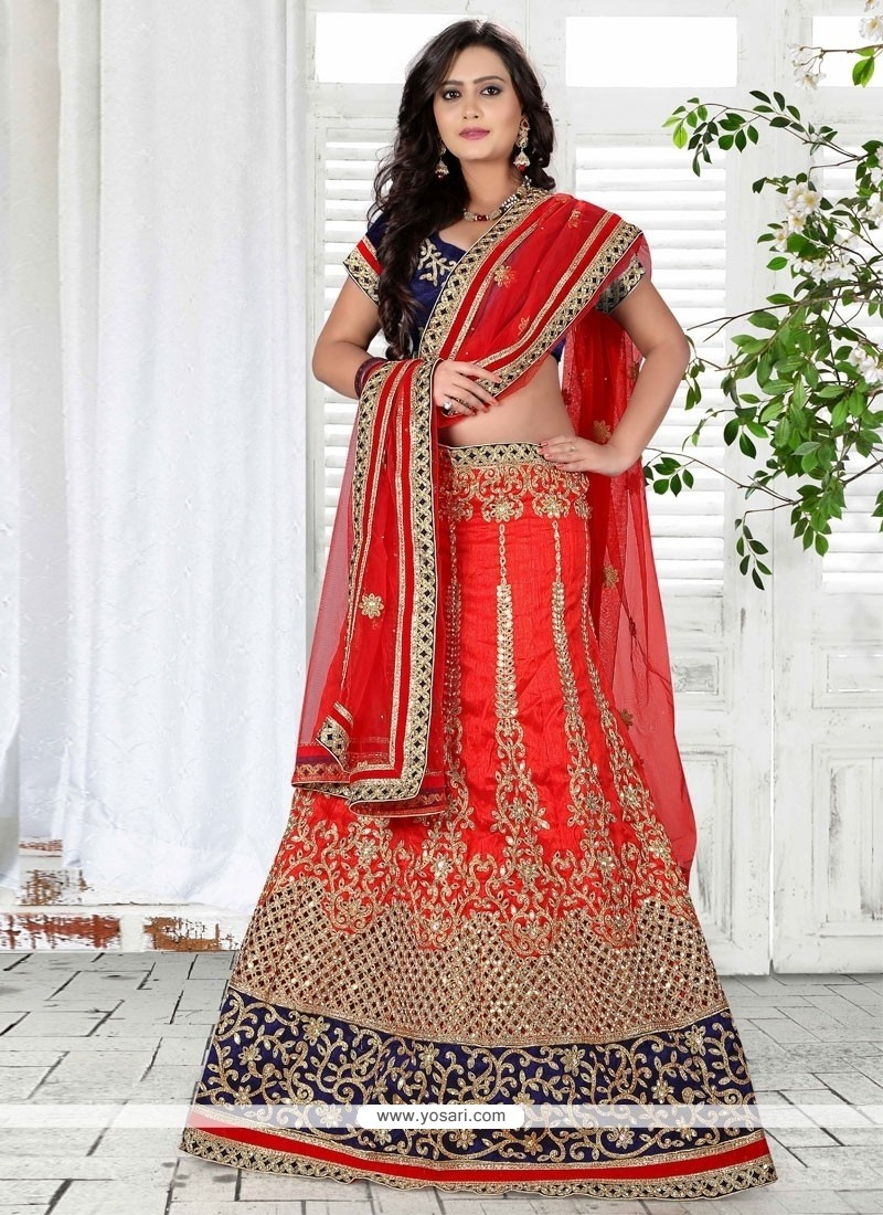 Sumptuous Embroidered Work Red A Line Lehenga Choli