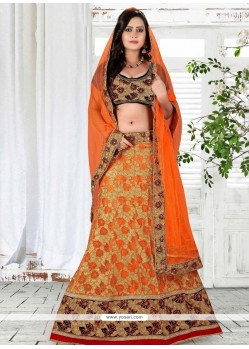 Sumptuous Embroidered Work Orange Net A Line Lehenga Choli