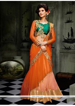Irresistible Net Orange Embroidered Work A Line Lehenga Choli