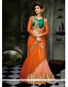 Irresistible Net Orange Embroidered Work A Line Lehenga Choli
