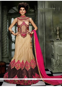 Compelling Cream Embroidered Work Net A Line Lehenga Choli