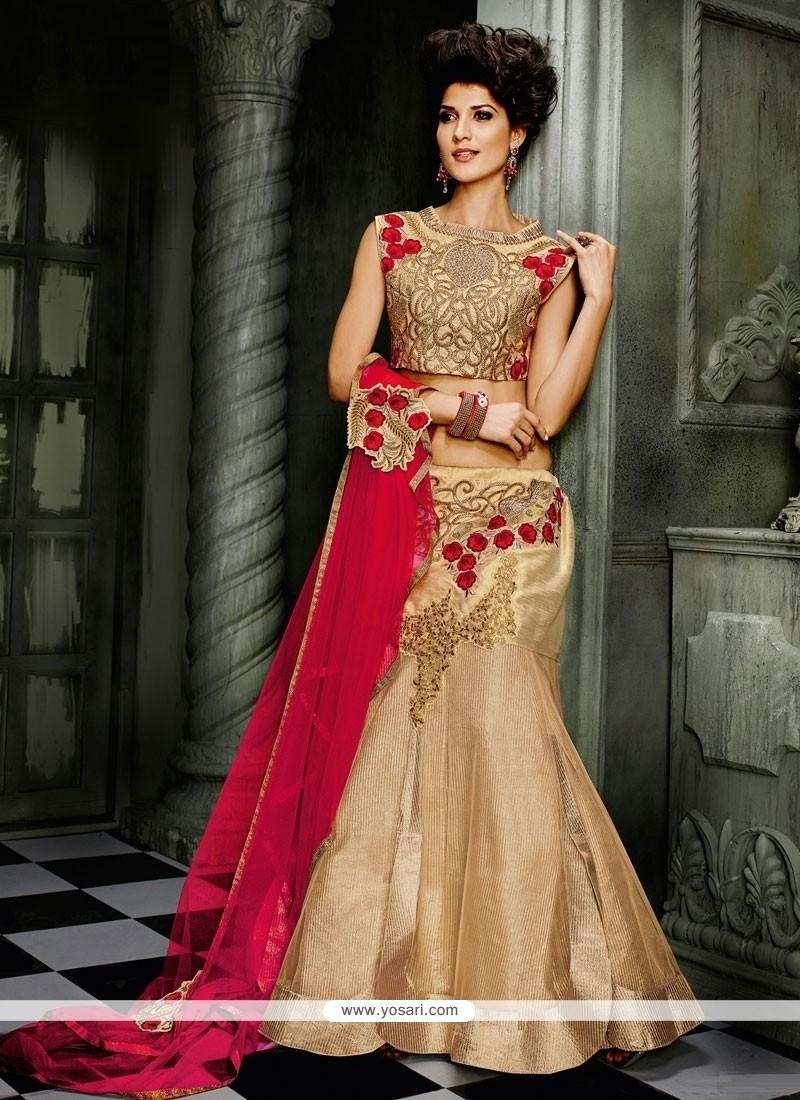 Lordly Lace Work Net A Line Lehenga Choli