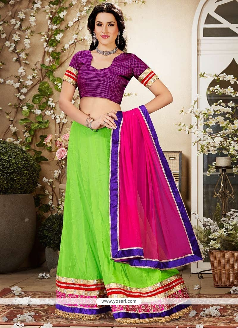 Fab Green Georgette Lehenga Choli