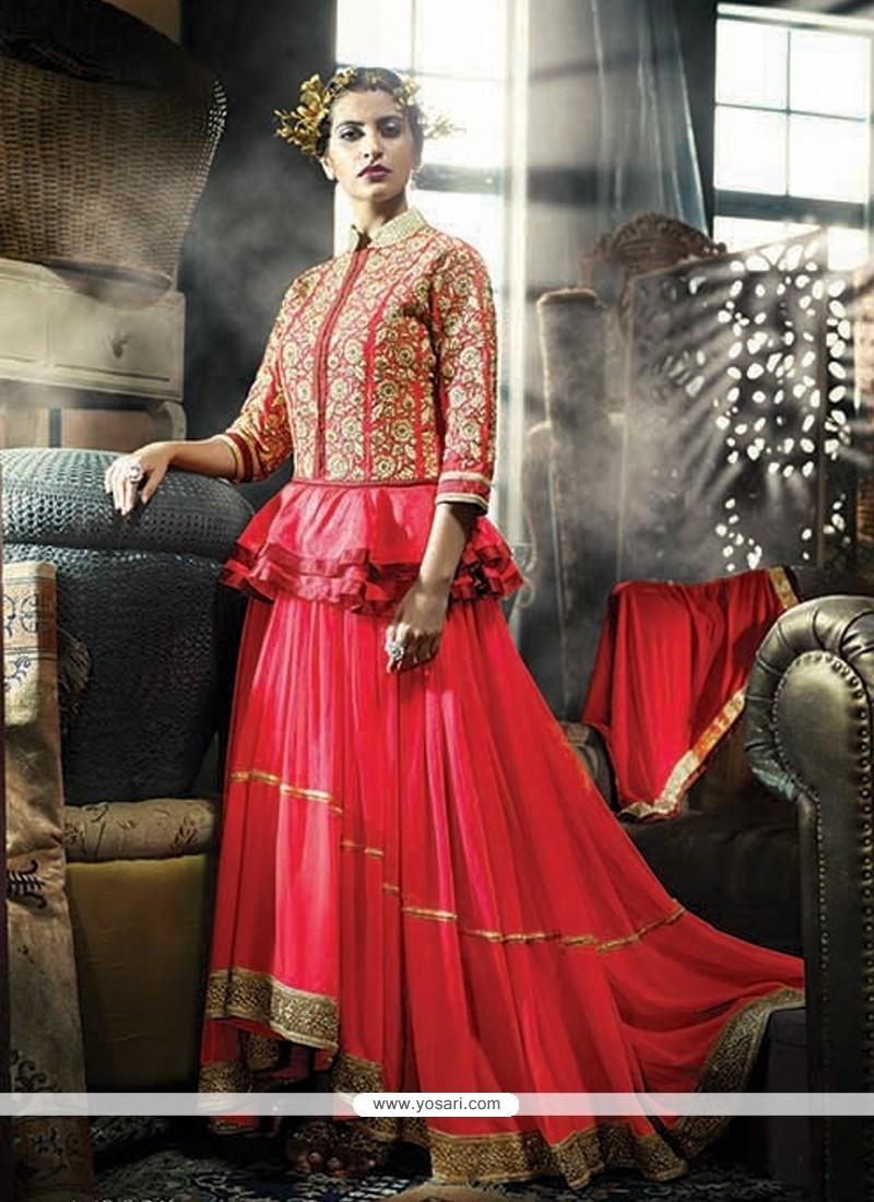 Astounding Resham Work Net Pink Designer Gown