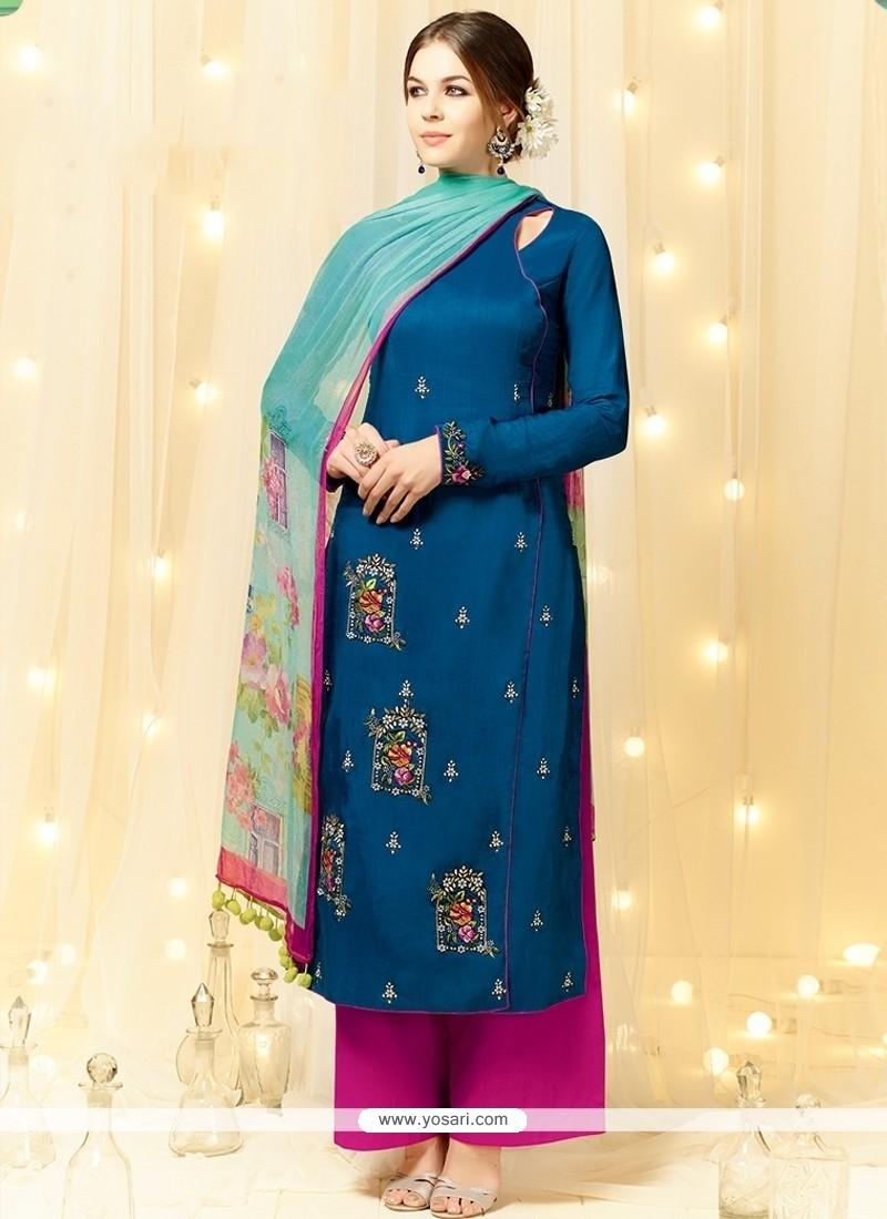 Enticing Cotton Satin Pakistani Suit