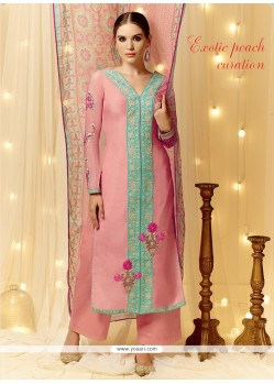 Graceful Resham Work Cotton Satin Pink Designer Pakistani Suit
