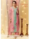 Graceful Resham Work Cotton Satin Pink Designer Pakistani Suit