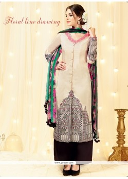 Irresistible Cotton Satin Resham Work Designer Palazzo Suit