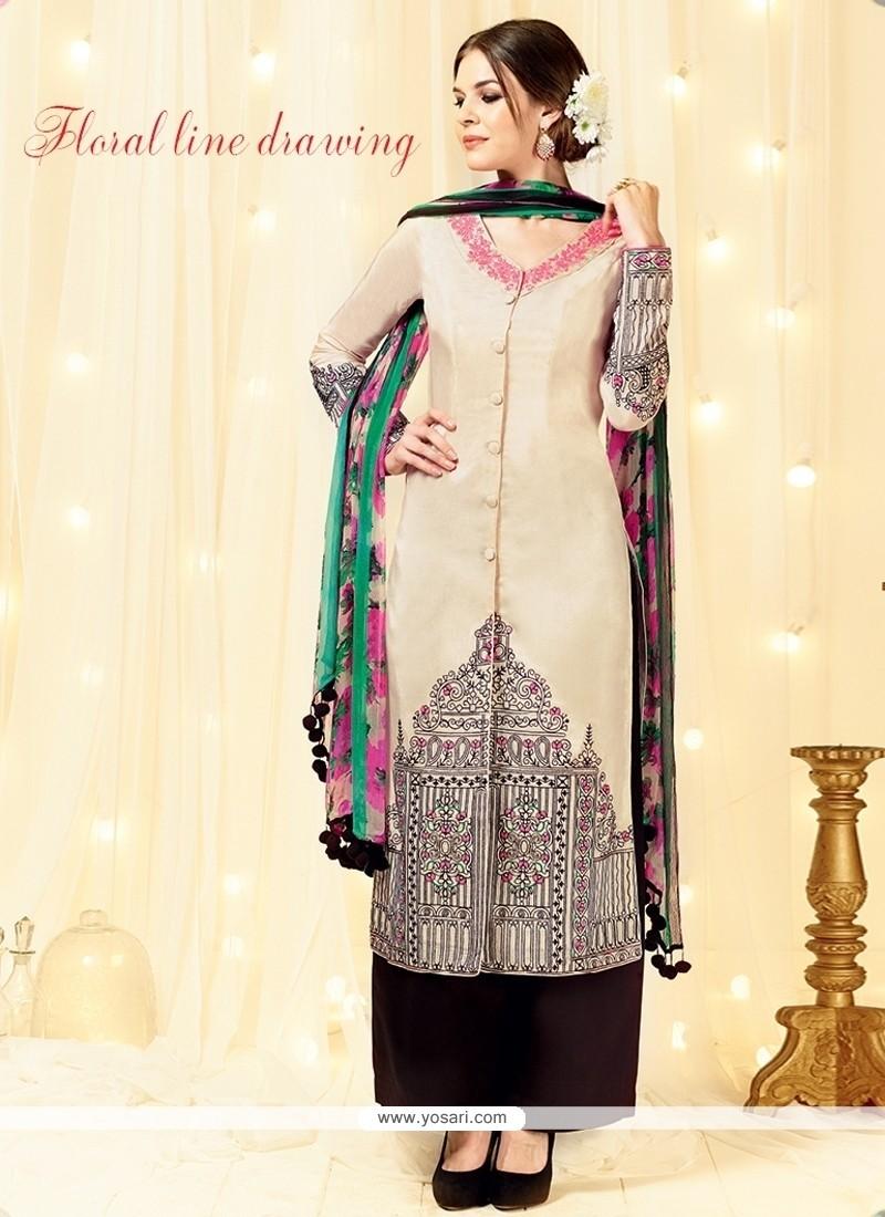 Irresistible Cotton Satin Resham Work Designer Palazzo Suit