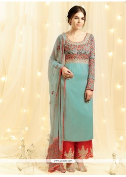 Astounding Sea Green Embroidered Work Cotton Satin Designer Palazzo Salwar Suit
