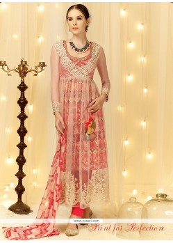Preferable Resham Work Cream And Red Designer Salwar Suit