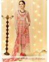 Preferable Resham Work Cream And Red Designer Salwar Suit