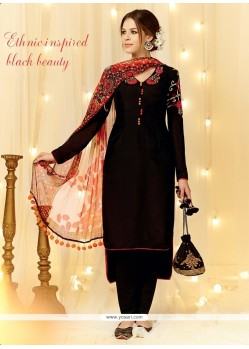Intricate Black Embroidered Work Designer Straight Salwar Suit