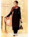 Intricate Black Embroidered Work Designer Straight Salwar Suit