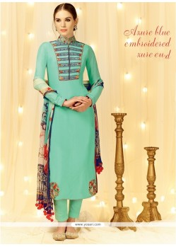 Renowned Embroidered Work Sea Green Cotton Satin Designer Straight Salwar Suit
