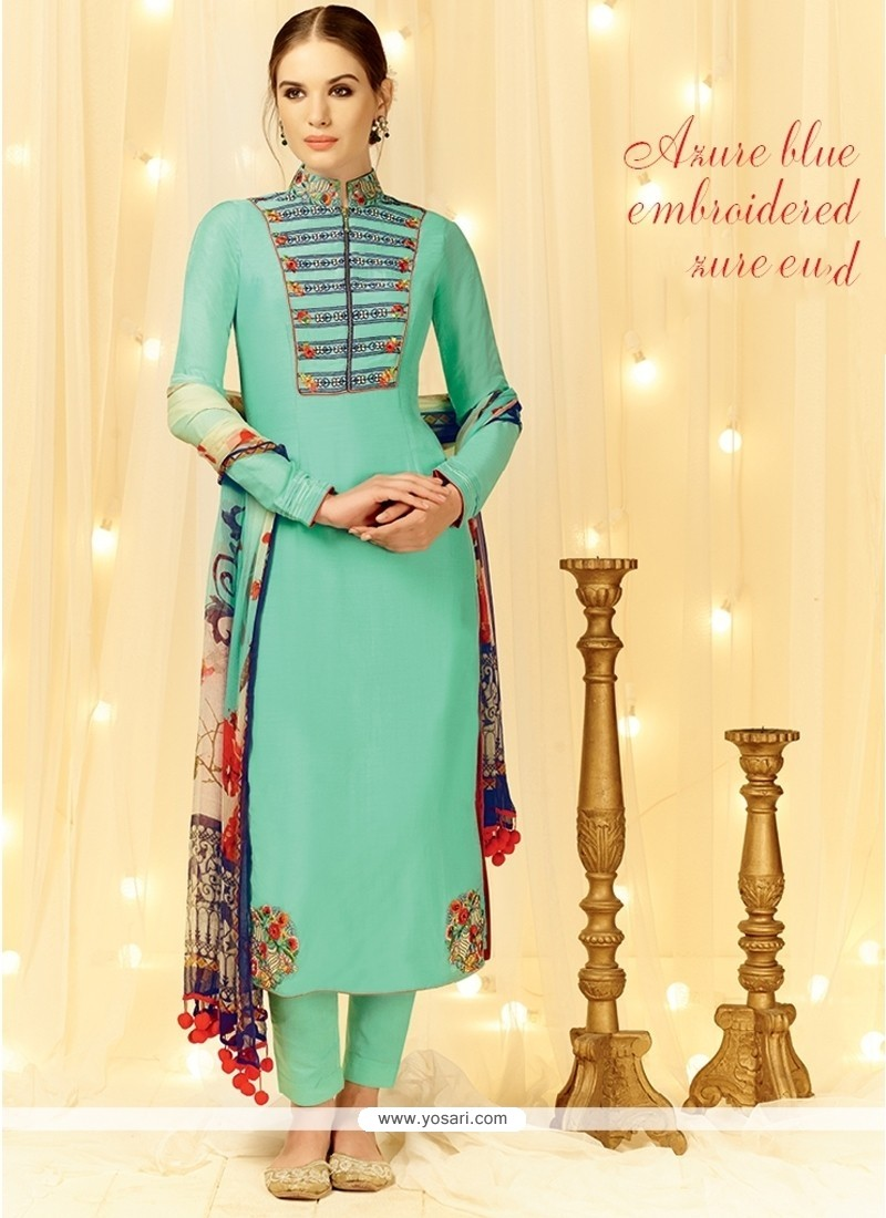 Renowned Embroidered Work Sea Green Cotton Satin Designer Straight Salwar Suit