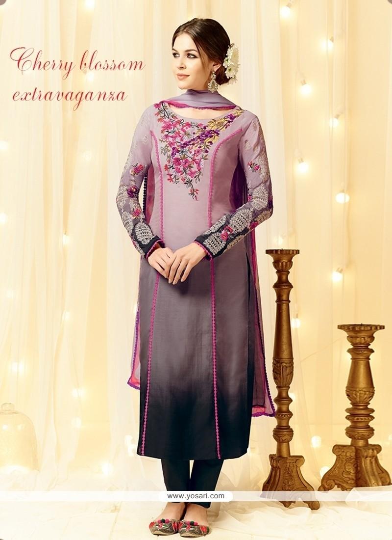 6b3dee6013 Shop online Lustre Grey Designer Straight Salwar Kameez