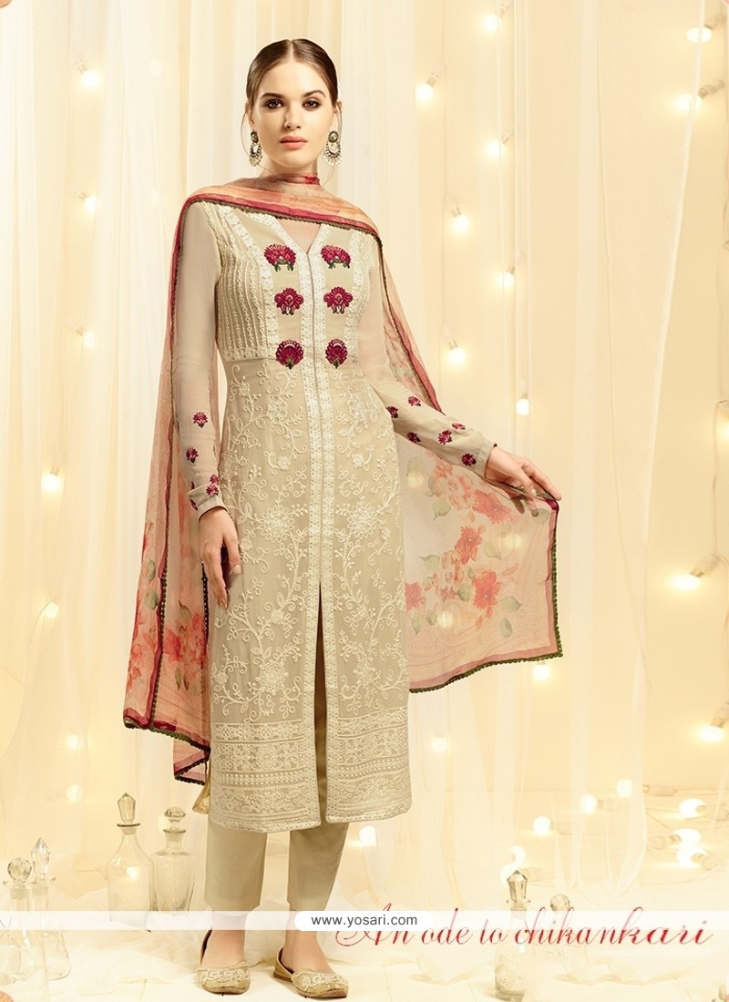 Arresting Resham Work Georgette Beige Designer Straight Salwar Kameez