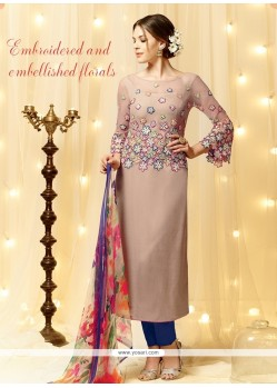 Customary Embroidered Work Cream Cotton Satin Designer Straight Salwar Kameez