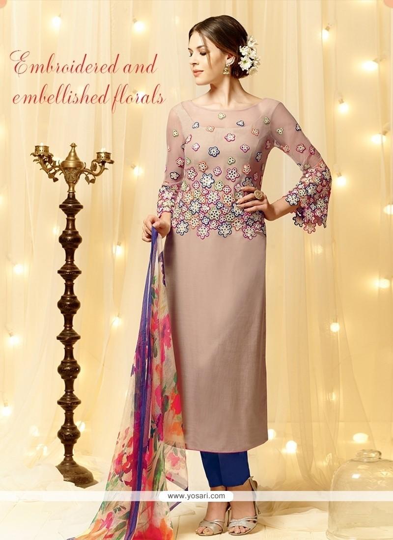 Customary Embroidered Work Cream Cotton Satin Designer Straight Salwar Kameez