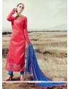 Excellent Lace Work Pink Designer Straight Suit