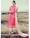 Arresting Hot Pink Lace Work Designer Straight Salwar Kameez