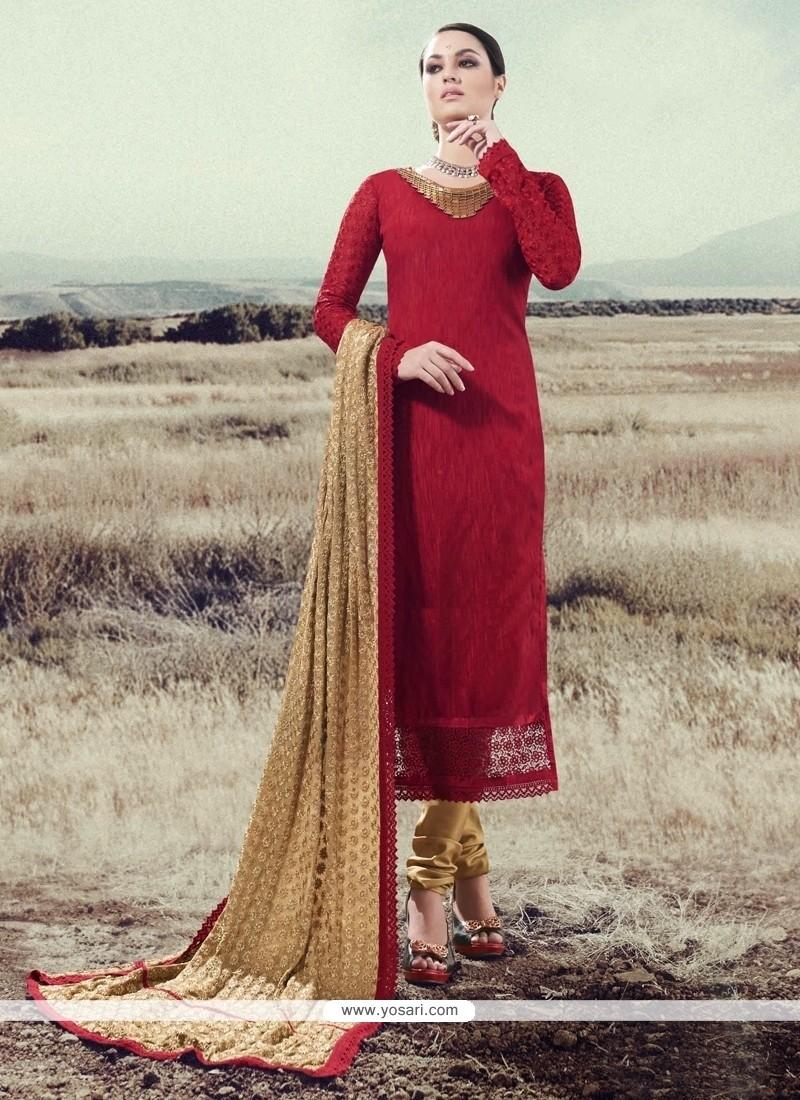 Beckoning Lace Work Silk Red Designer Straight Salwar Suit